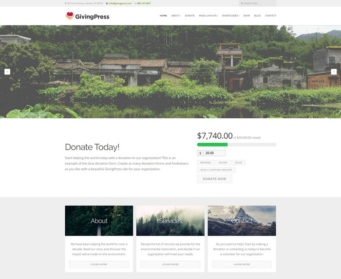 free nonprofit, Church, charity wordpress theme