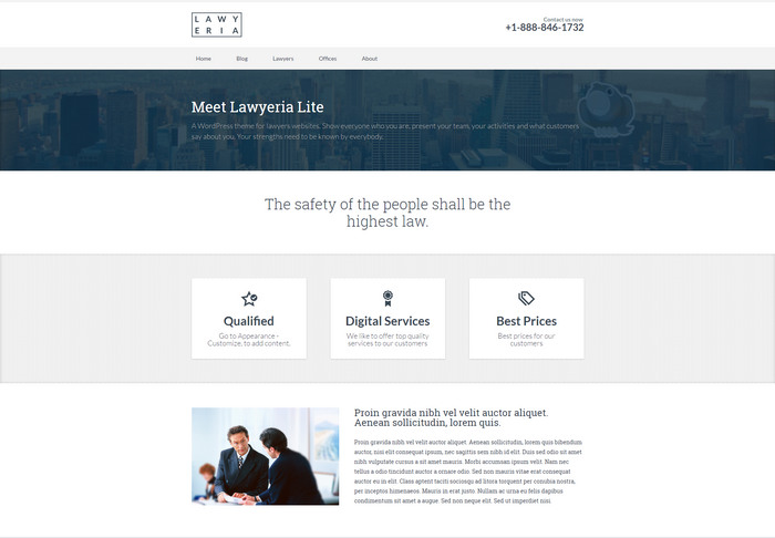 free Lawyer WordPress Theme for consultation services