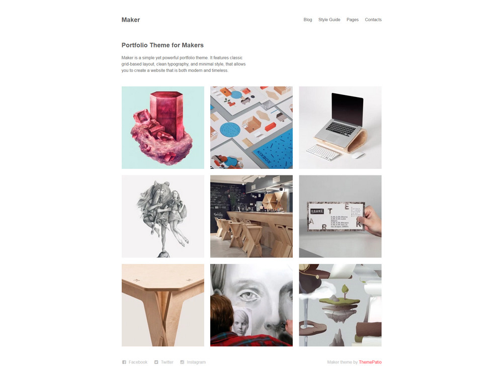 maker - free minimal portfolio wp theme