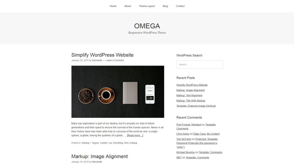 omega minimal blog theme