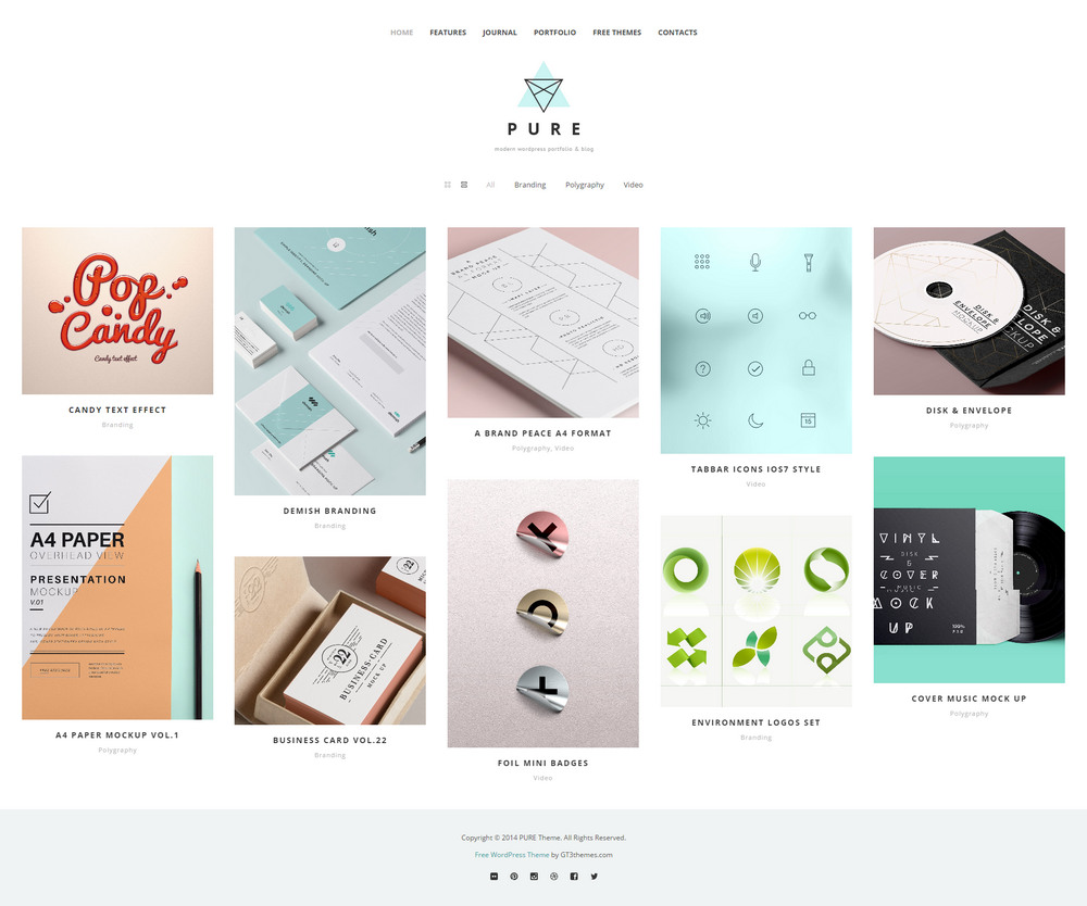 pure portfolio theme for wordpress