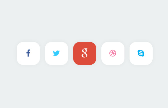 18 Free HTML CSS3 Social Media Buttons, Icons with Hover
