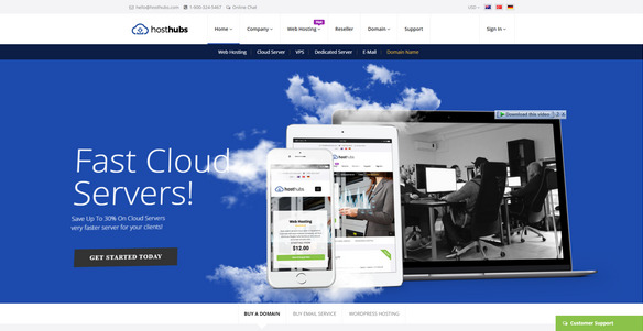 Responsive WHMCS Web Hosting, Domain, Technology Site Template