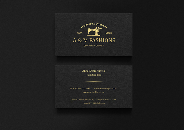 am fashion embossed card design