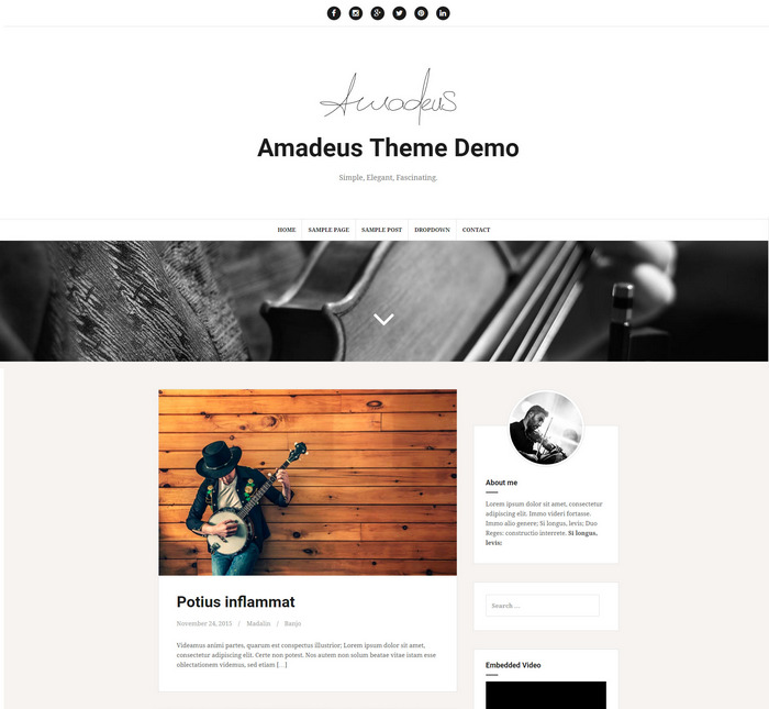 Amadeus – Free Blogging theme
