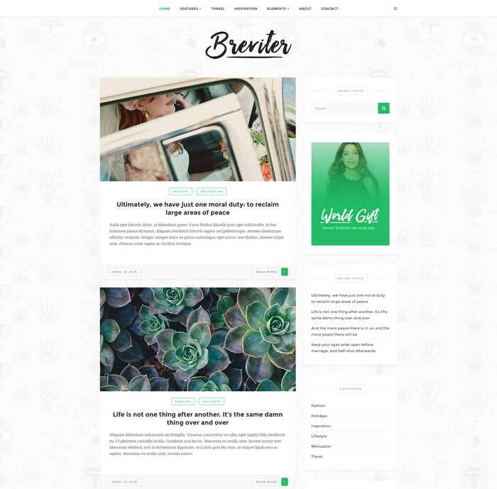 Breviter Free - blog wordpress theme