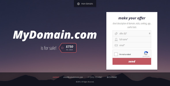 Landing Page to Sell Domains