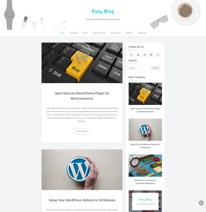 easy blog wordpress theme