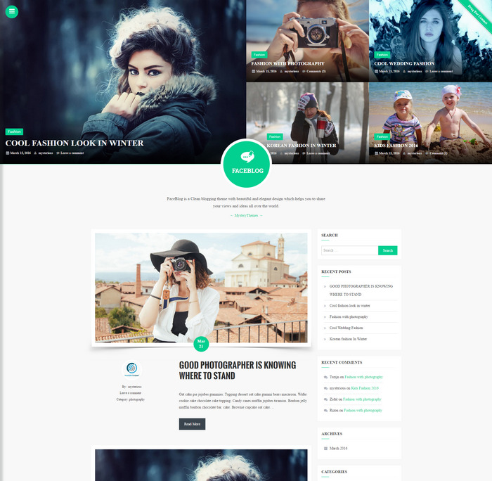clean & well designed blogging theme