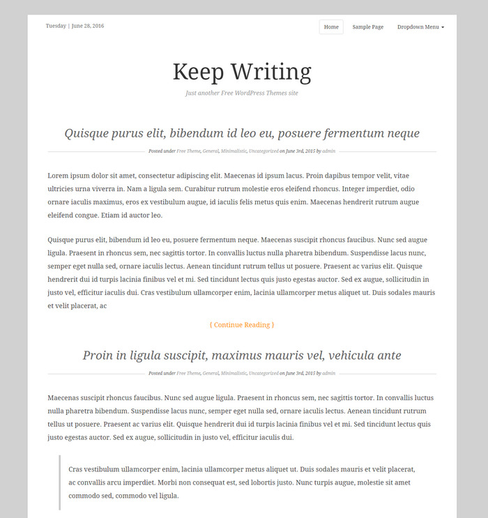Free blog WordPress Theme – Keep Writing