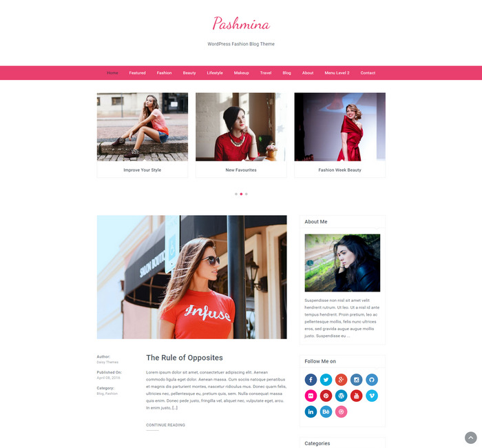 feminine pink WordPress Fashion Blog Theme
