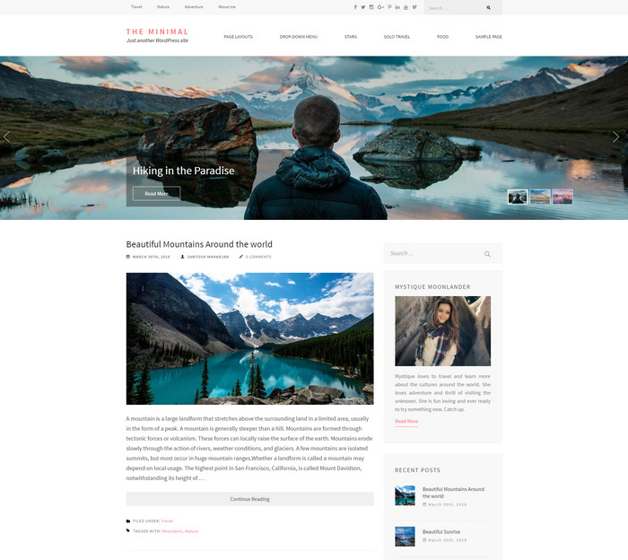 minimalist WordPress personal blog theme