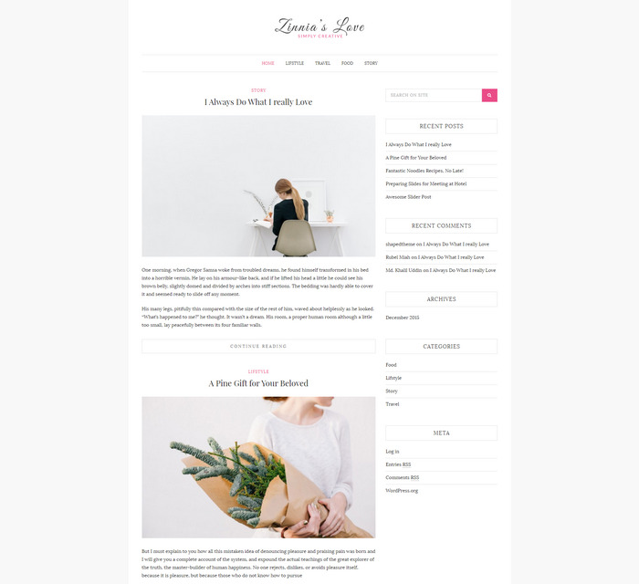 Zinnias Lite – Free WordPress Blog Theme