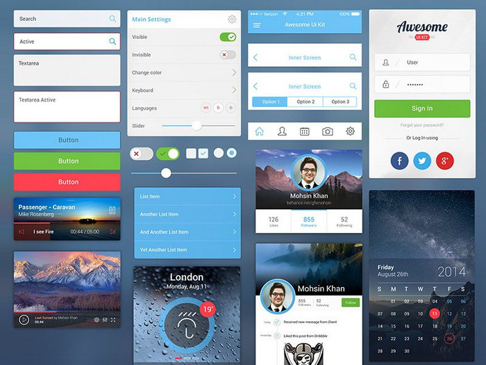 Awesome free psd UI kit for Mobile