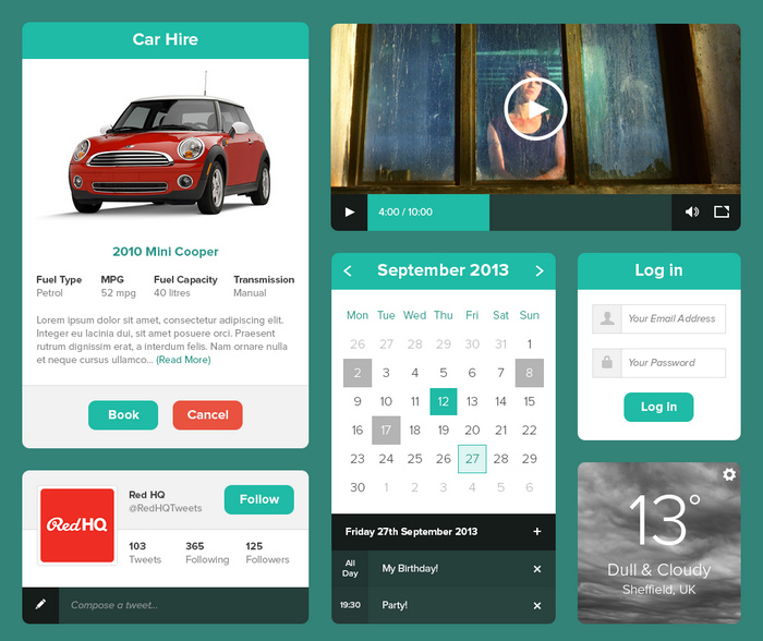 Minty Green UI Kit for charity websites