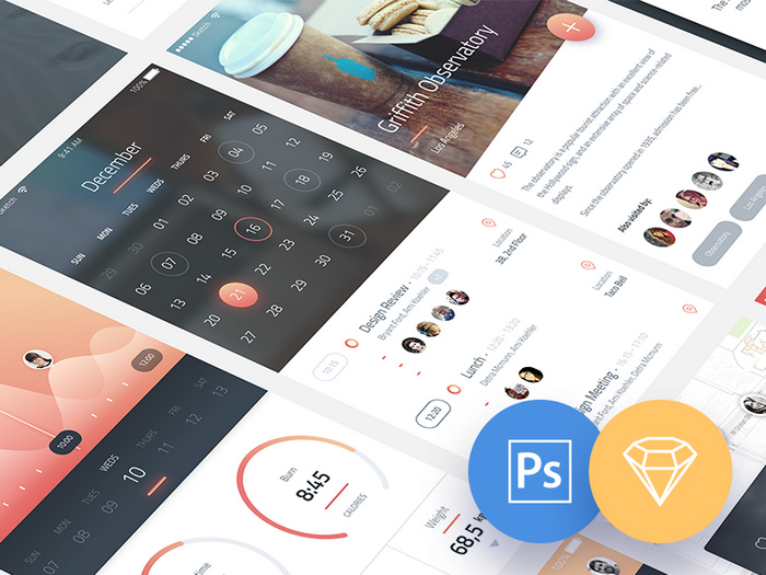 Phoenix UI for mobile app in PSD and Sketch