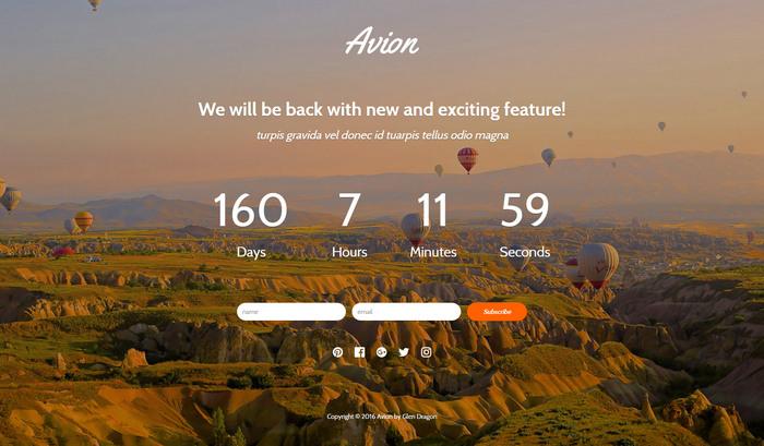 Avion - free Landing Page Template HTM