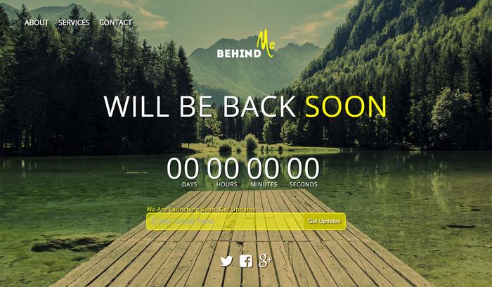 BehindMe – Responsive Coming Soon HTML Template
