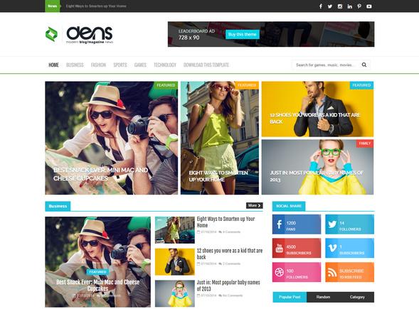 dens magazine blog template