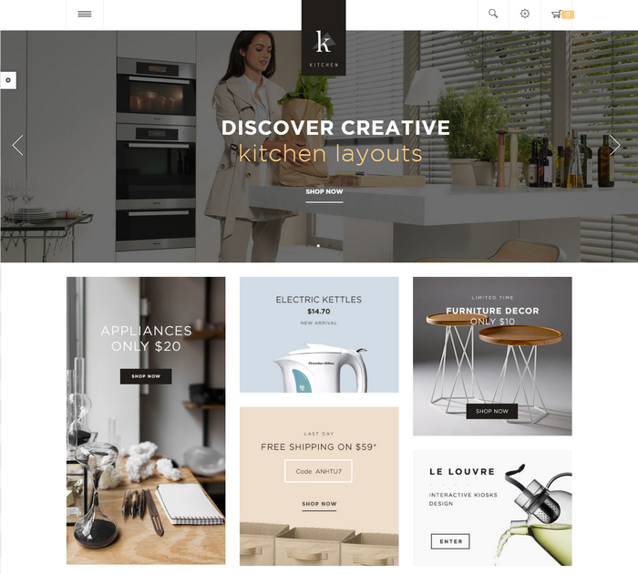 ecommerce theme for kitchen and interior