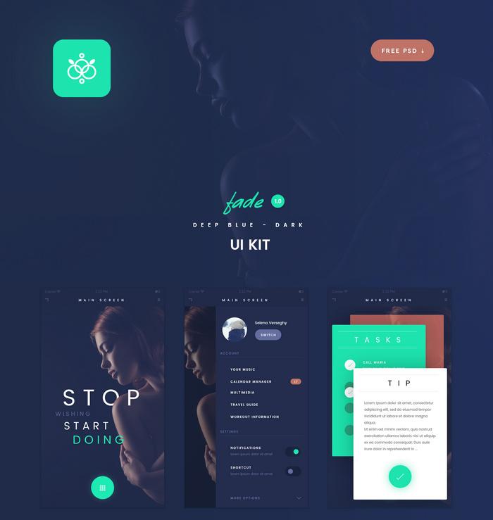 fade app - free flat psd ui kit