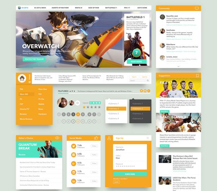 gaming website ui kit for sketch