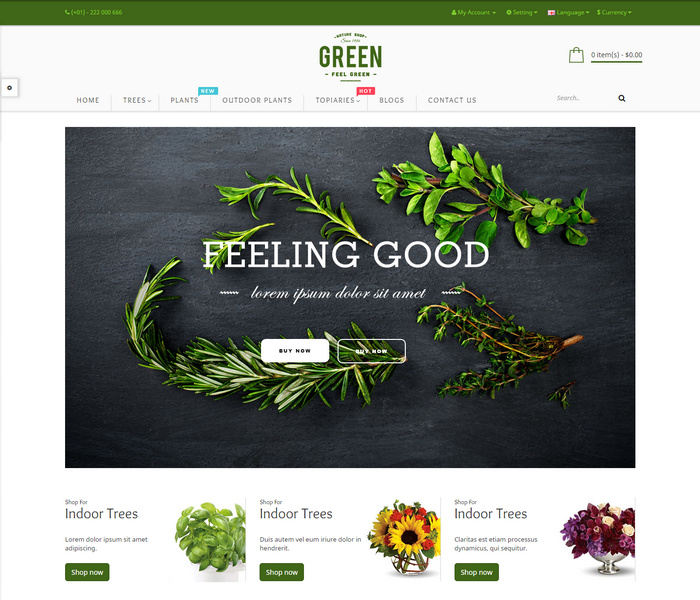 Responsive Opencart theme for Flower stores