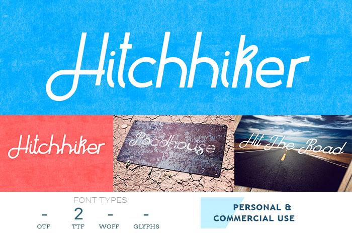 hitchhiker cursive font
