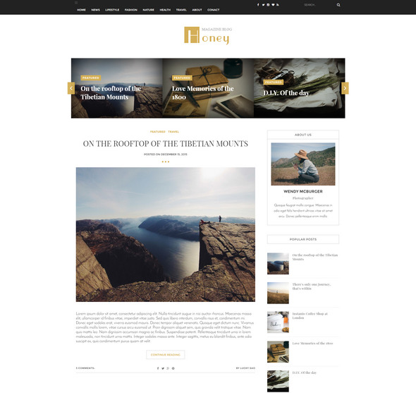 honey template for blogging
