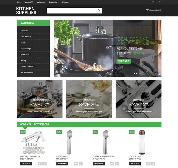 kitchen design theme for opencart