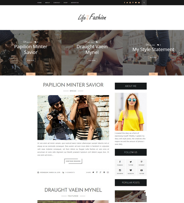 life fashion for blogger template