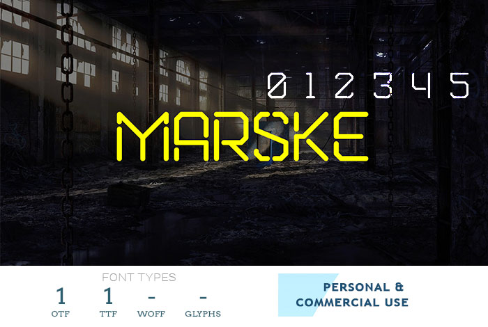 marske free business font with stencil letters