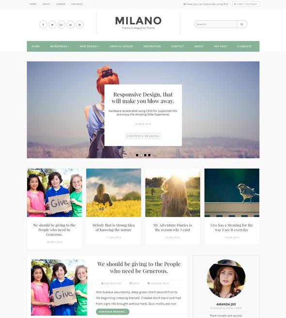milano blog template