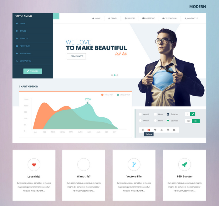 80 Free Flat UI Kits PSD for Mobile Apps, Websites