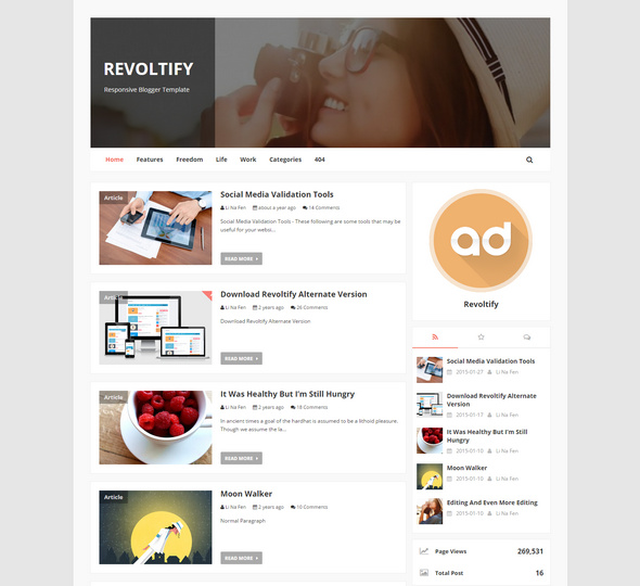 revoltify template for blogger
