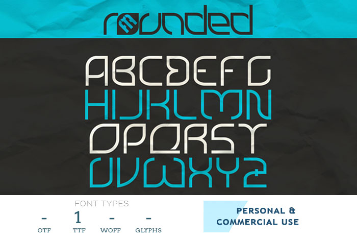 rounded hexagonal style font