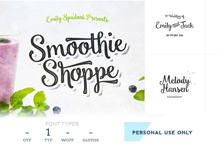 smoothie free script font for logos