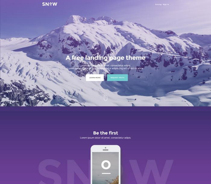 snow free landing html template