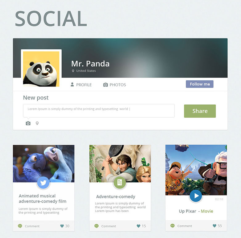 social web magazine psd ui kit