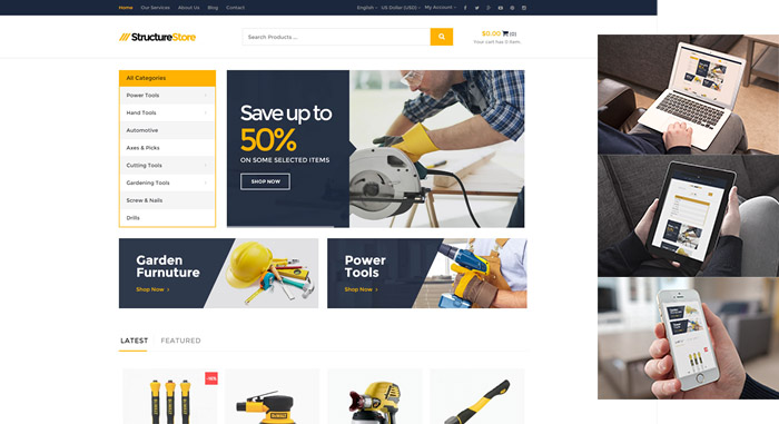 structure free opencart theme