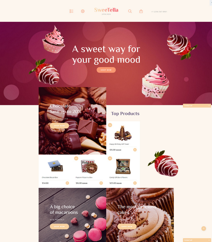 sweetstore - opencart theme for cakes, bakery