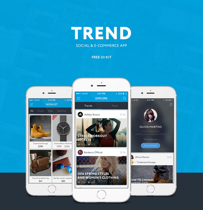 trend ui kit – Social and e-commerce ios app