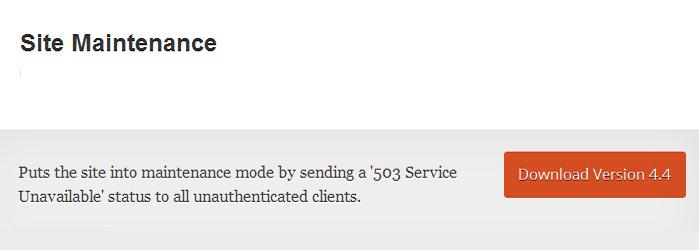 Site Maintenance plugin for wordpress