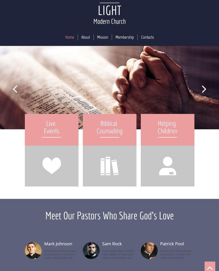 modern church webiste template