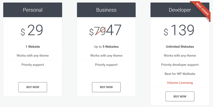 regular pricing for motopress page builder