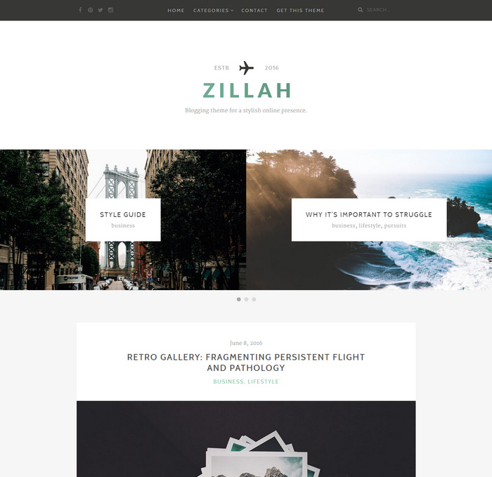 zillah personal website theme for wordpress