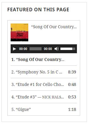Featured Audio options panel