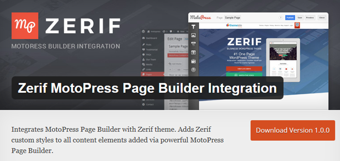 Zerif Motopress integration