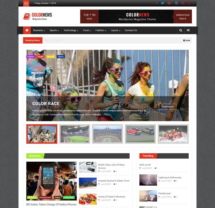 free responsive news style WordPress theme