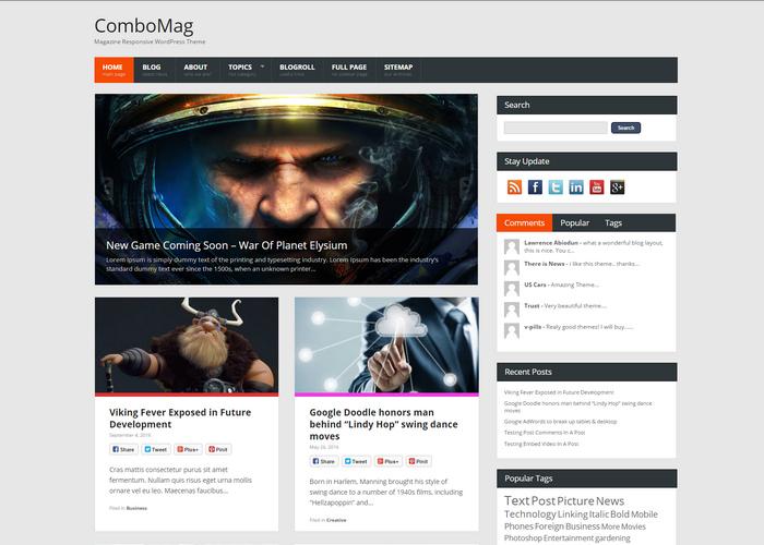 magazine style free responsive WordPress Theme